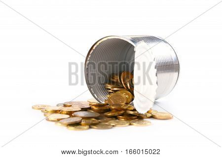 Russian metal coins of gold color in a glass jar as an element of savings and avoid updating of the trading and financial system
