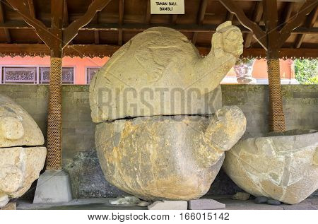 BALI, INDONESIA - 19.01.2017: Ancient Tortoise Sarcophagus, could be over 2000 years old, Gedong Arca Archeological Museum.