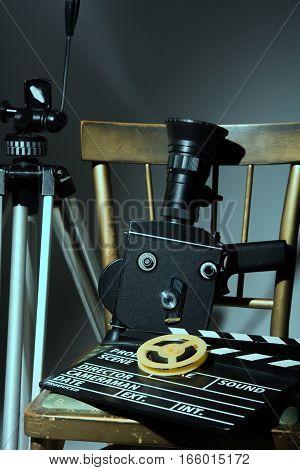 Tripod Old Movie Camera Clapper