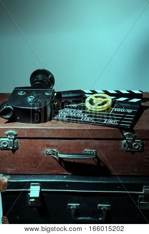 Old Movie Camera Clapper And Reel With Film