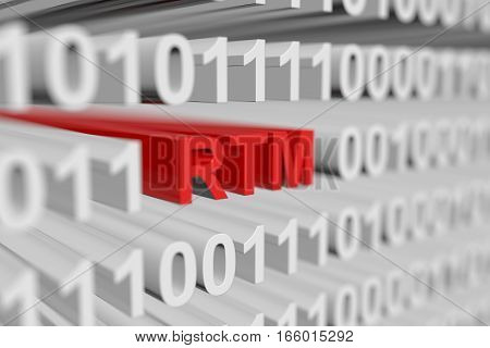RTM in the form of a binary code with blurred background 3D illustration