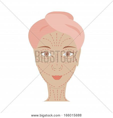 Poster of facial technique massage. Infographic basic scheme of line and directions face massage on beautiful woman. How to apply cream to the face and neck. Vector illustration eps10