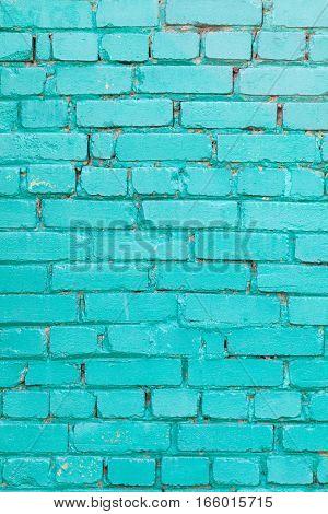 Beautiful brick wall and the foundation, aquamarine color