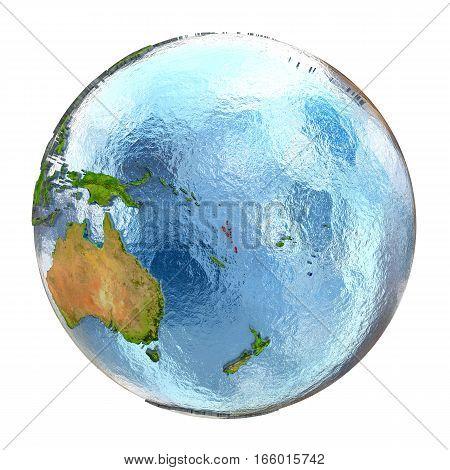 Vanuatu In Red On Full Earth