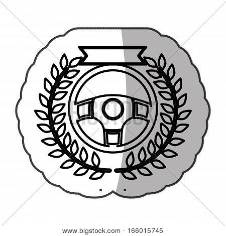 rudder in monochrome sticker with olive branch and ribbon and half shadow vector illustration