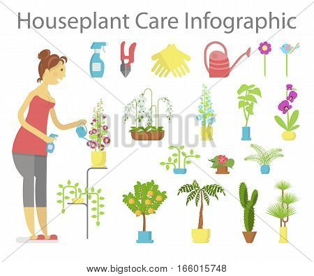 Window gardening ifographic elements. Woman floriculturist takes care of indoor flowers. Vector set of flat illustration of horticultural sundry, house plants and flowers in pots. EPS 10