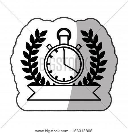 sticker monochrome chronometer with half shaded and ribbon and olive branch vector illustration