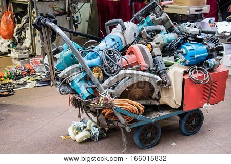 Second hand Powertool recycling in a market in Hong Kong