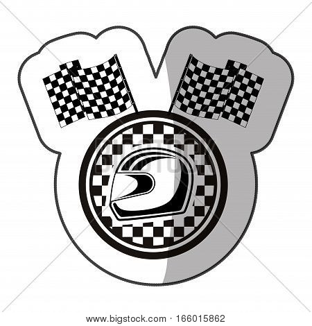 emblem monochrome sticker with racing helmet and flags and half shadow vector illustration
