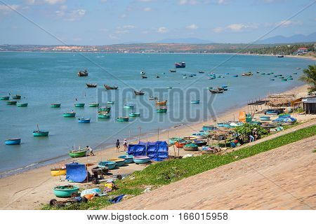 MUYNE, VIETNAM - DECEMBER 25, 2015: View of the Fishing harbor of the village of Muyne. Fantyet's vicinities, Vietnam