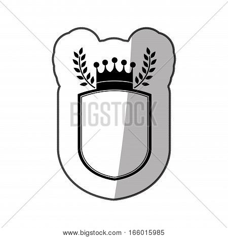sticker monochrome shield with crown and olive branchs and half shadow vector illustration