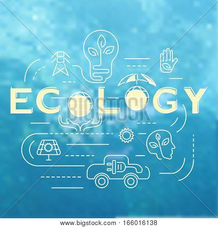 Ecology template banner on marine water background, Environmental risks and pollution, ecosystem icons for inphographic. eps10 Vector illustration