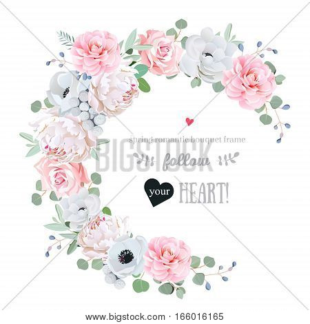 Delicate floral vector round frame with peony rose camellia anemone eucalyptus brunia on white. Pink and white flowers. Half moon shape bouquet. All elements are isolated and editable.