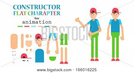 Young man wearing hoodie character creation set. Friendly teenager in a trendy casual wear. Build your own design. Cartoon flat-style infographic illustration