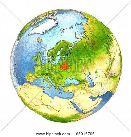 Belarus In Red On Full Earth