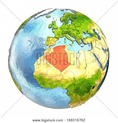 Algeria In Red On Full Earth