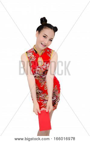 happy Chinese new year. Asian girl with gesture of congratulation and holding red envelope on White background