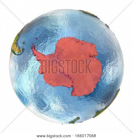 Antarctica In Red On Full Earth