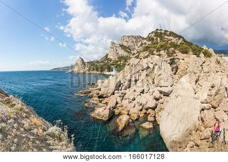 Rocky coast Simeiz Crimea Russia The black sea,