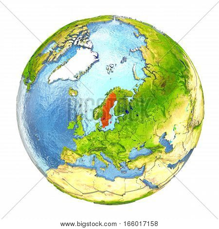 Sweden In Red On Full Earth
