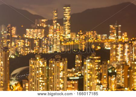 Abstract blurred bokeh Hong Kong city residence area over the mountain