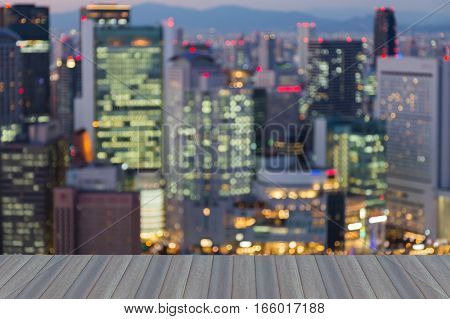 Opening wooden floor blurred bokeh lights Osaka office building abstract background