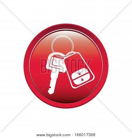 Button with keys and keychain vector illustration