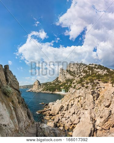 Rocky coast of Simeiz in Crimea. The black sea,