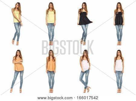 Full Length Beautiful Stylish Girls In Jeans Collage
