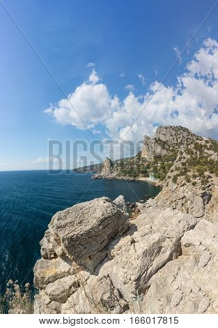 Coastal cliffs on the southern coast of Crimea. The Village Of Simeiz