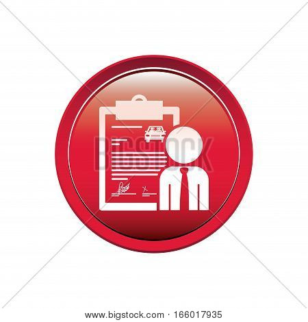 button with car contract and salesman vector illustration