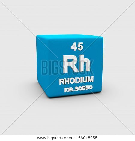 Rhodium is a chemical element with symbol Rh and atomic number 45.