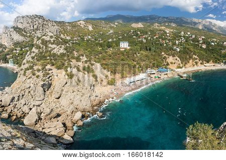 Rocky coast of Simeiz. The black sea, Crimea Russia