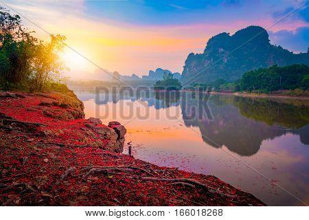 Beautiful sunrise at nongtalay lake in krabi ProvinceThailand