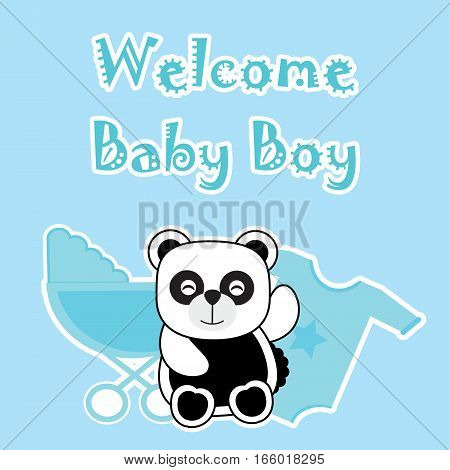 Baby shower card with baby panda, baby cart, and baby cloth suitable for baby shower's greeting card, invitation card, and postcard