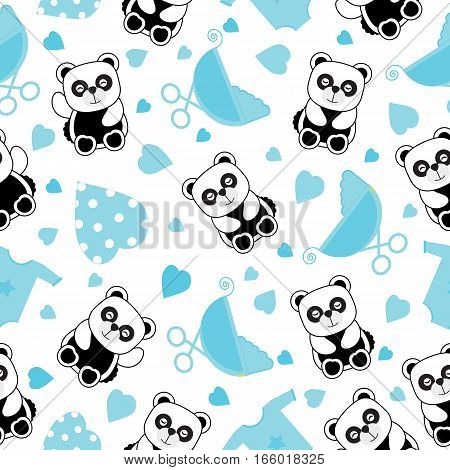 Baby shower seamless background with baby panda and baby clothes suitable for baby shower's scrap paper, wallpaper and wrapping paper