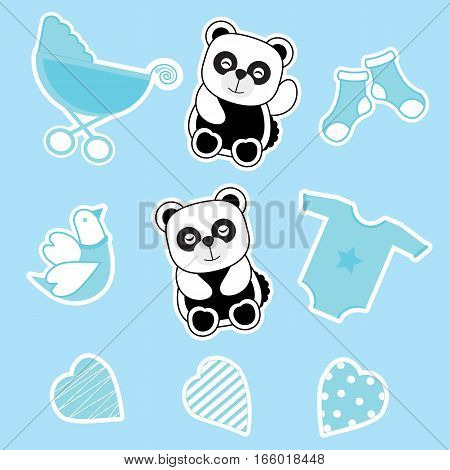 Baby shower sticker set  with baby panda, baby cart, and baby clothes suitable for baby shower's invitation card, baby shower's sticker set, and clip art