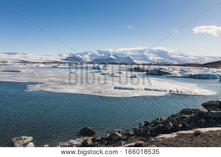 Beautiful Jakulsarlon winter lake with clear blue sky background Iceland natural landscape background