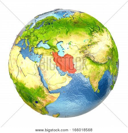 Iran In Red On Full Earth