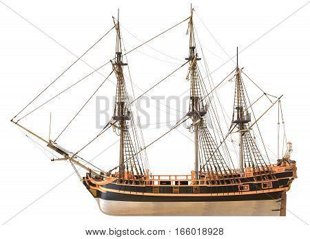 3D Illustration sailboat isolated on white background