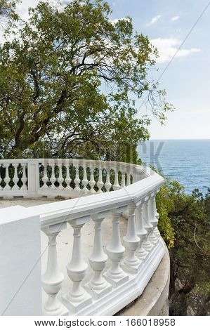 Balustrade observation deck on the shore of the Black sea in the Crimea