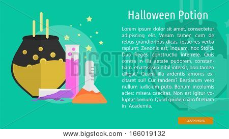Halloween Potion Conceptual Banner Great flat design illustration concepts for halloween, holiday, horror, night and much more.