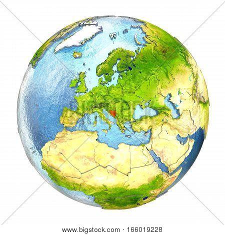 Bosnia In Red On Full Earth