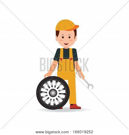 Tire service man worker changing tire car service tire change tire mechanic auto service auto repair flat design Vector illustration.
