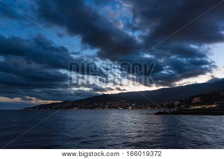 The city of Yalta at sunset. Crimea Russia