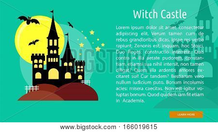 Witch Castle Conceptual Banner Great flat design illustration concepts for halloween, holiday, horror, night and much more.