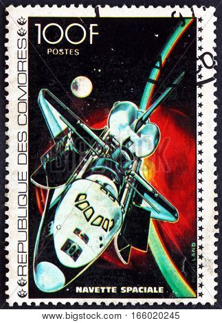 COMOROS - CIRCA 1977: a stamp printed in Comoros shows Space Shuttle Space Exploration circa 1977