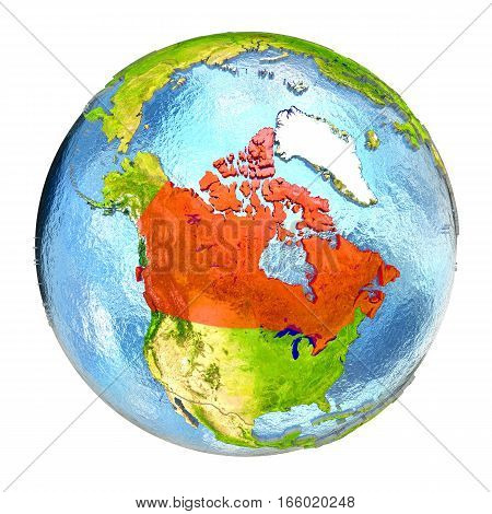 Canada In Red On Full Earth