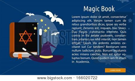 Magic Book Conceptual Banner Great flat design illustration concepts for halloween, holiday, horror, night and much more.