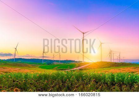 Windmills in sunset time sky at Khao Kho Phetchabun province of Thailand